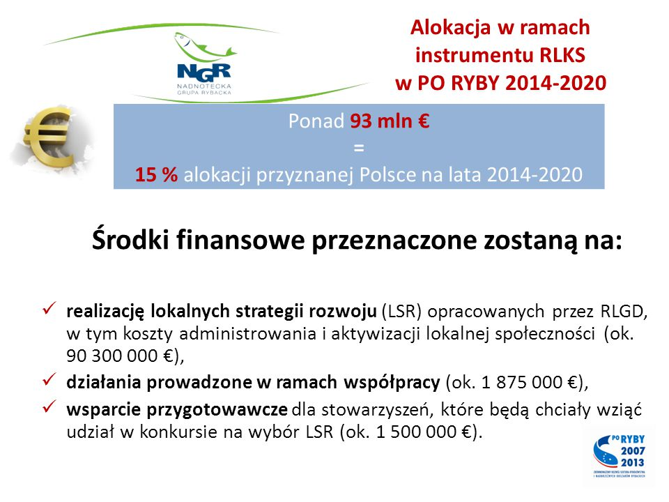 Alokacja w ramach instrumentu RLKS w PO RYBY 2014-2020