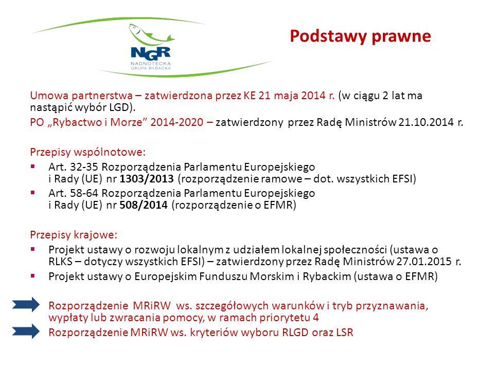 Podstawy prawne Umowa partnerstwa – zatwierdzona przez KE 21 maja 2014 r. (w ciągu 2 lat ma nastąpić wybór LGD).