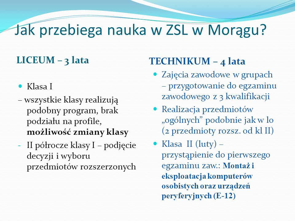 Jak przebiega nauka w ZSL w Morągu