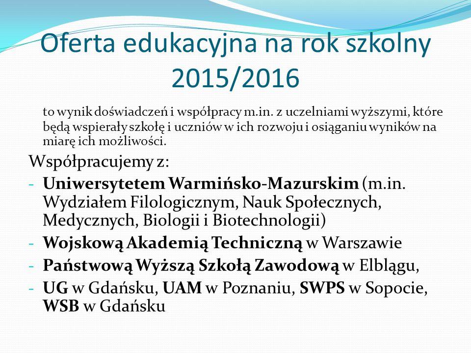 Oferta edukacyjna na rok szkolny 2015/2016