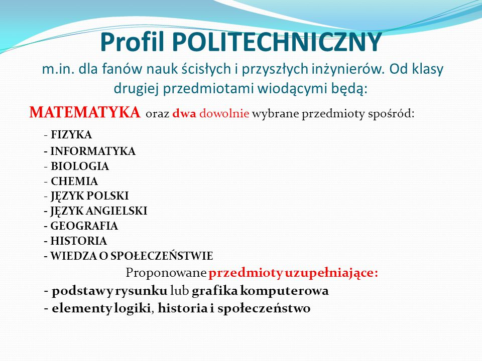 Profil POLITECHNICZNY m. in
