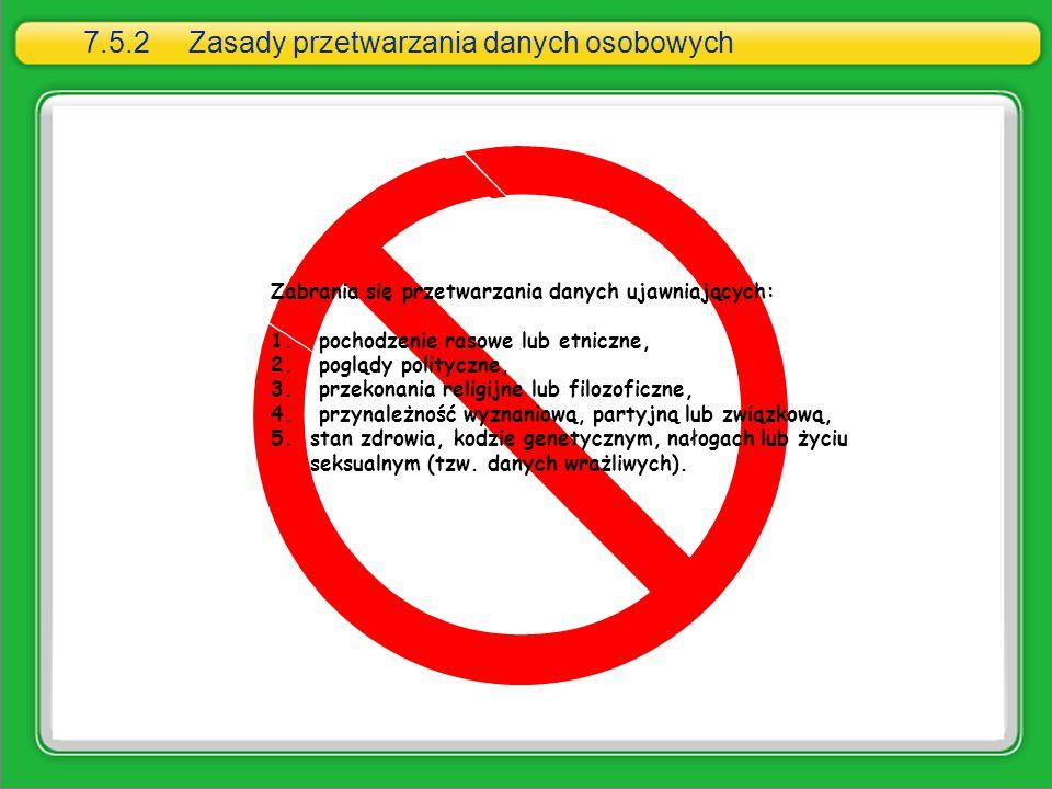 7.5.2 Zasady przetwarzania danych osobowych