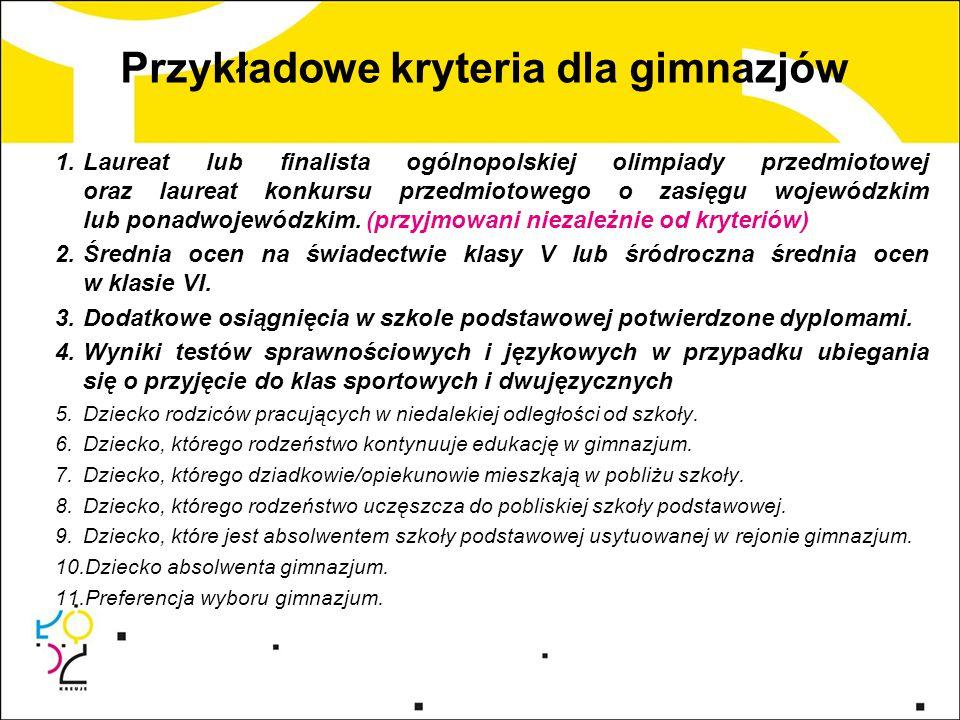 Przykładowe kryteria dla gimnazjów