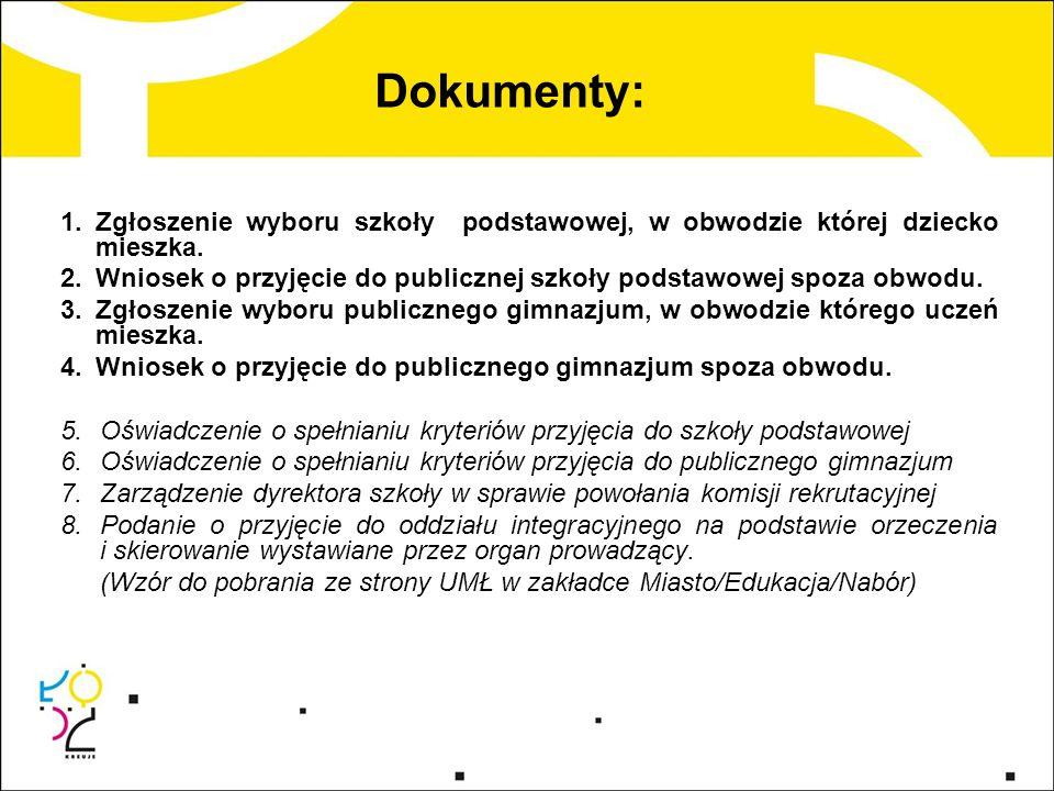 Dokumenty: Zgłoszenie wyboru szkoły podstawowej, w obwodzie której dziecko mieszka.