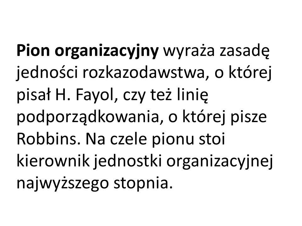 Pion organizacyjny wyraża zasadę jedności rozkazodawstwa, o której pisał H.