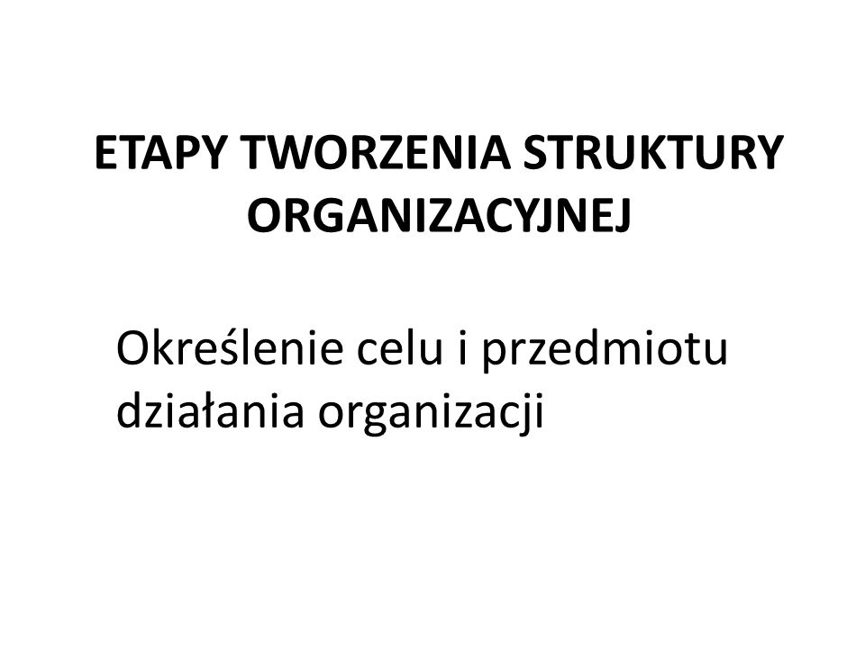 ETAPY TWORZENIA STRUKTURY ORGANIZACYJNEJ