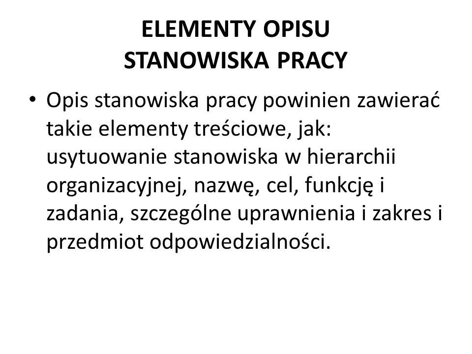 ELEMENTY OPISU STANOWISKA PRACY