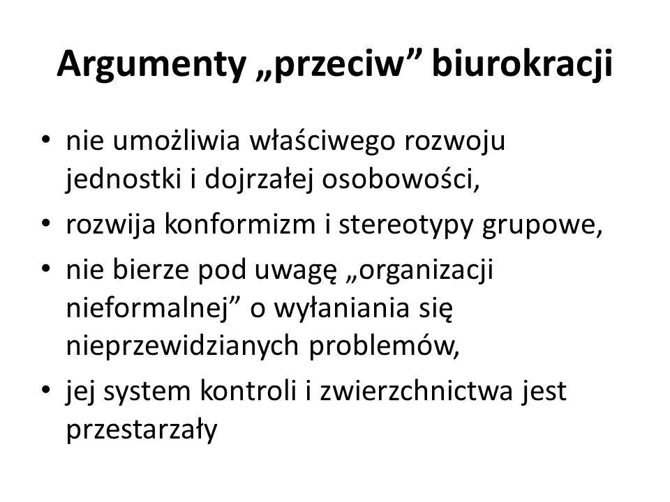 """Argumenty """"przeciw biurokracji"""