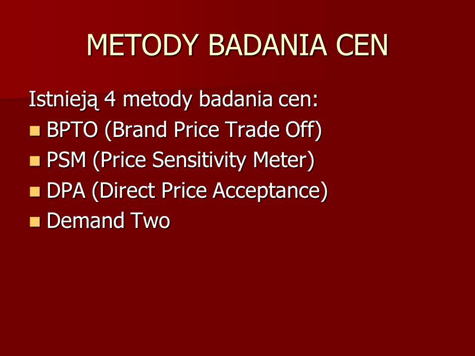 METODY BADANIA CEN Istnieją 4 metody badania cen: