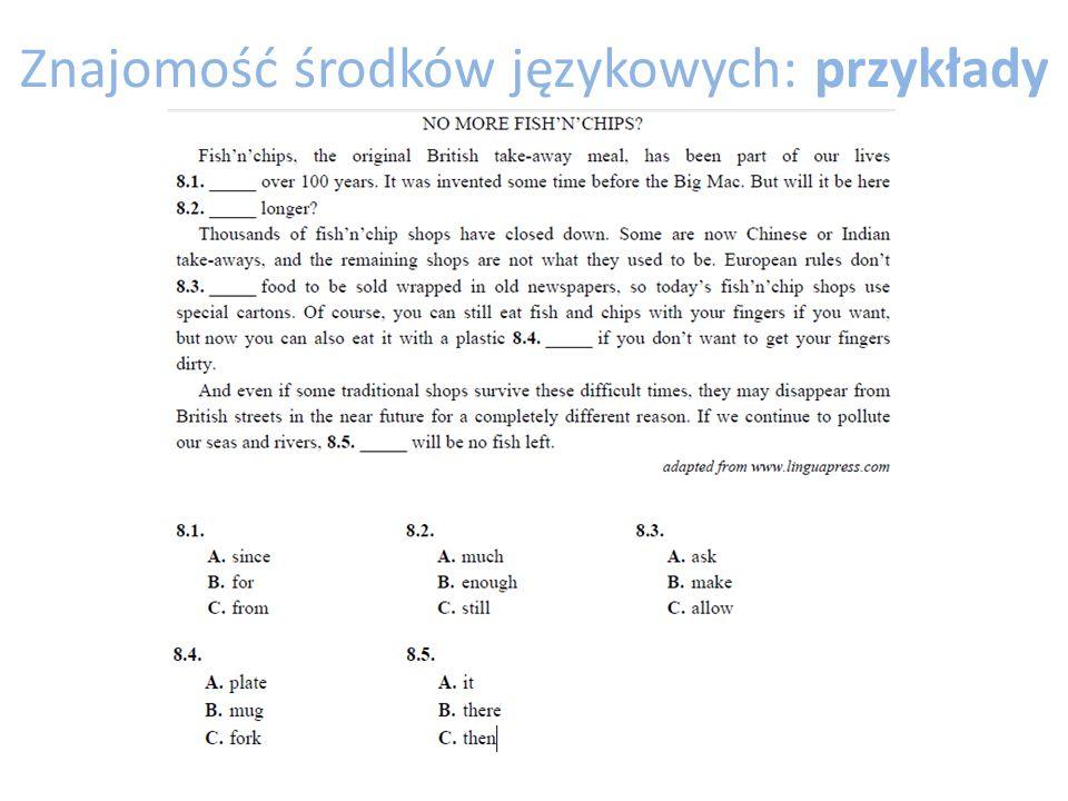 Znajomość środków językowych: przykłady