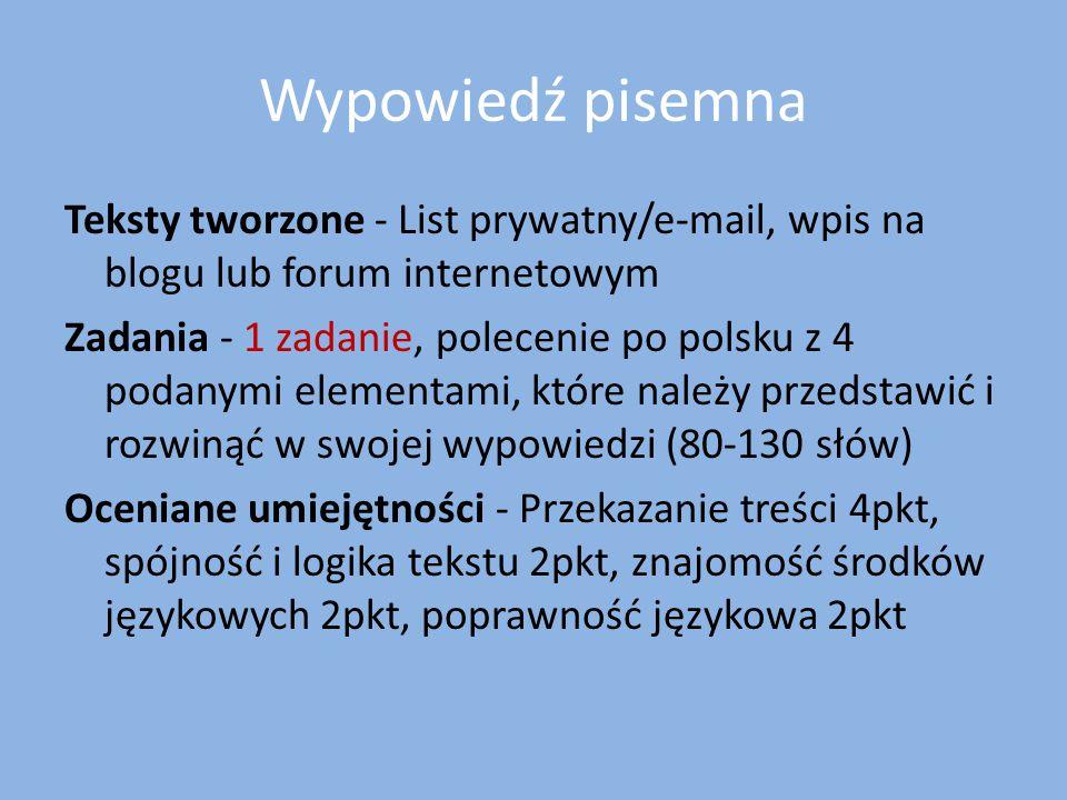 Wypowiedź pisemna Teksty tworzone - List prywatny/e-mail, wpis na blogu lub forum internetowym.