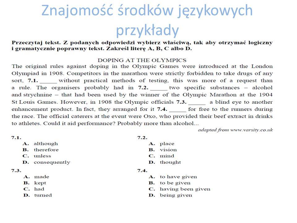 Znajomość środków językowych przykłady