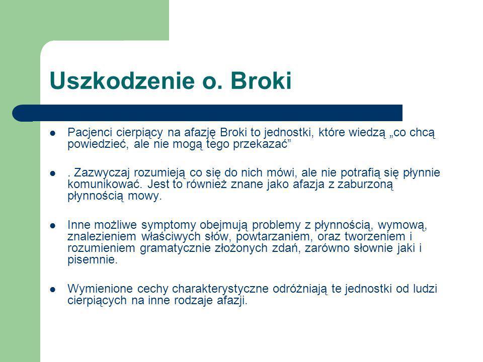 """Uszkodzenie o. Broki Pacjenci cierpiący na afazję Broki to jednostki, które wiedzą """"co chcą powiedzieć, ale nie mogą tego przekazać"""