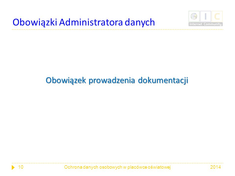 Obowiązki Administratora danych