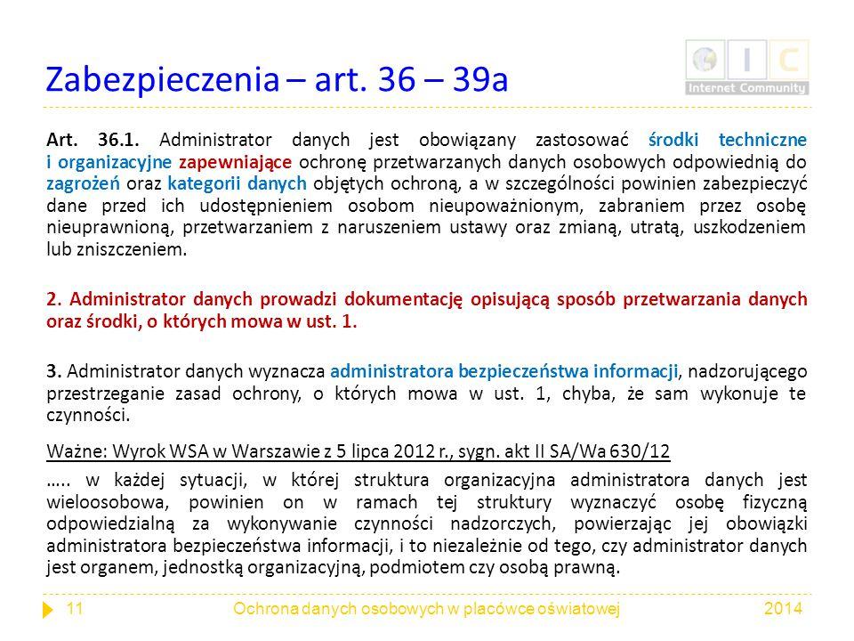 Zabezpieczenia – art. 36 – 39a