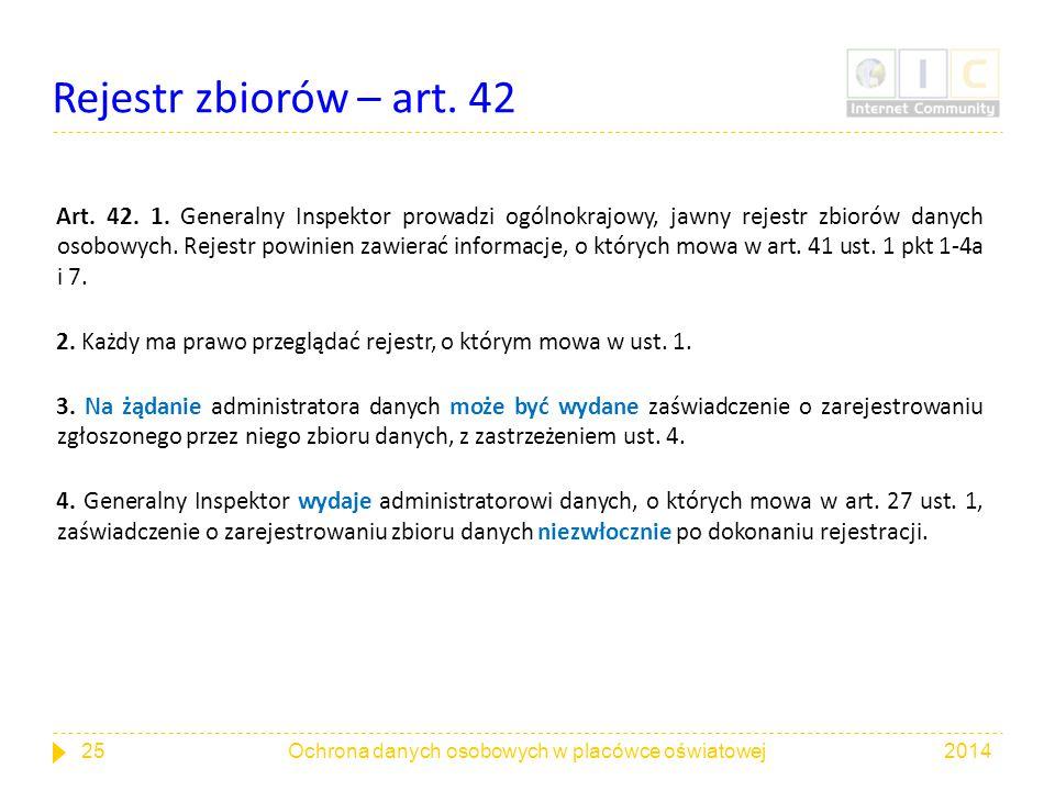 Rejestr zbiorów – art. 42