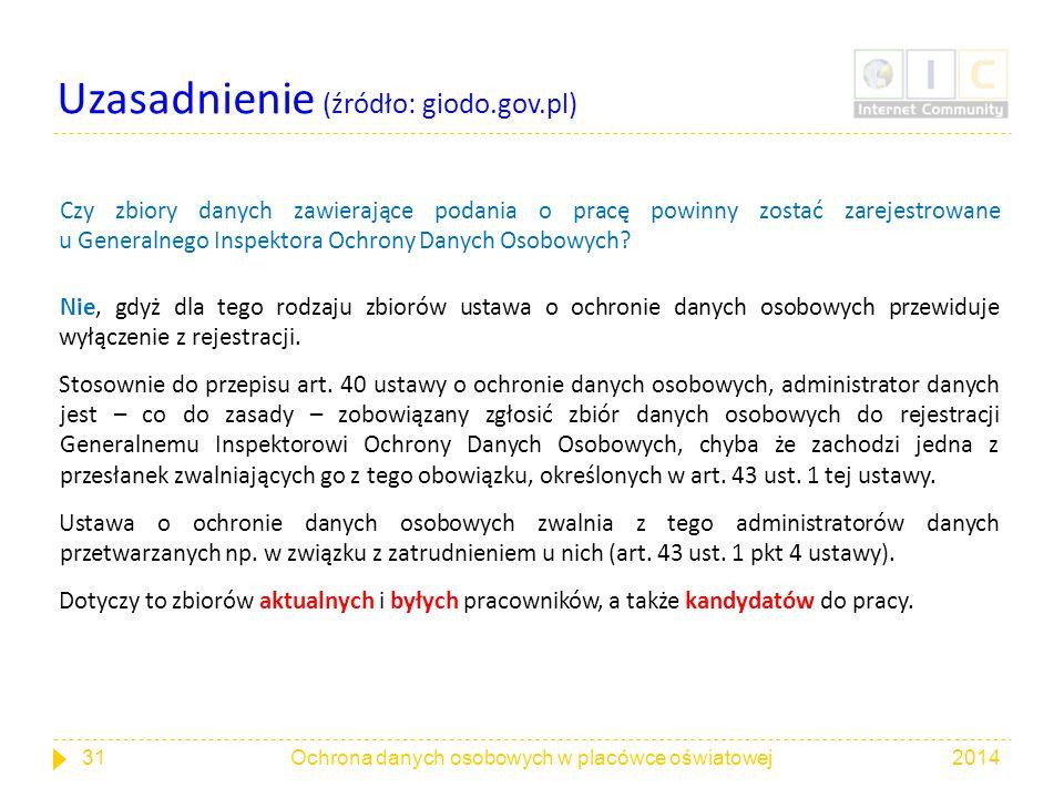 Uzasadnienie (źródło: giodo.gov.pl)