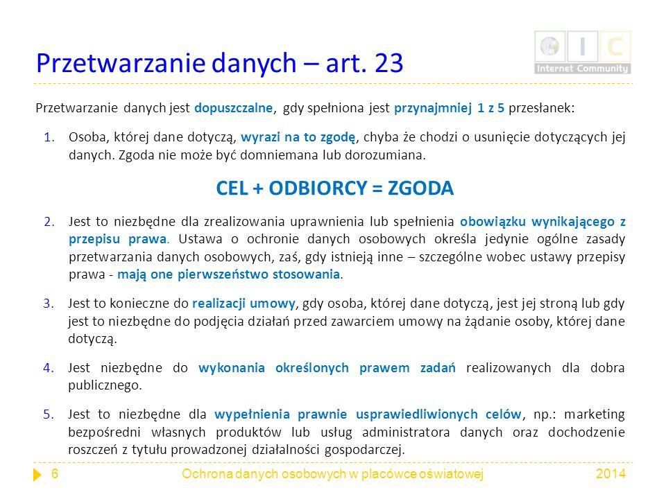 Przetwarzanie danych – art. 23