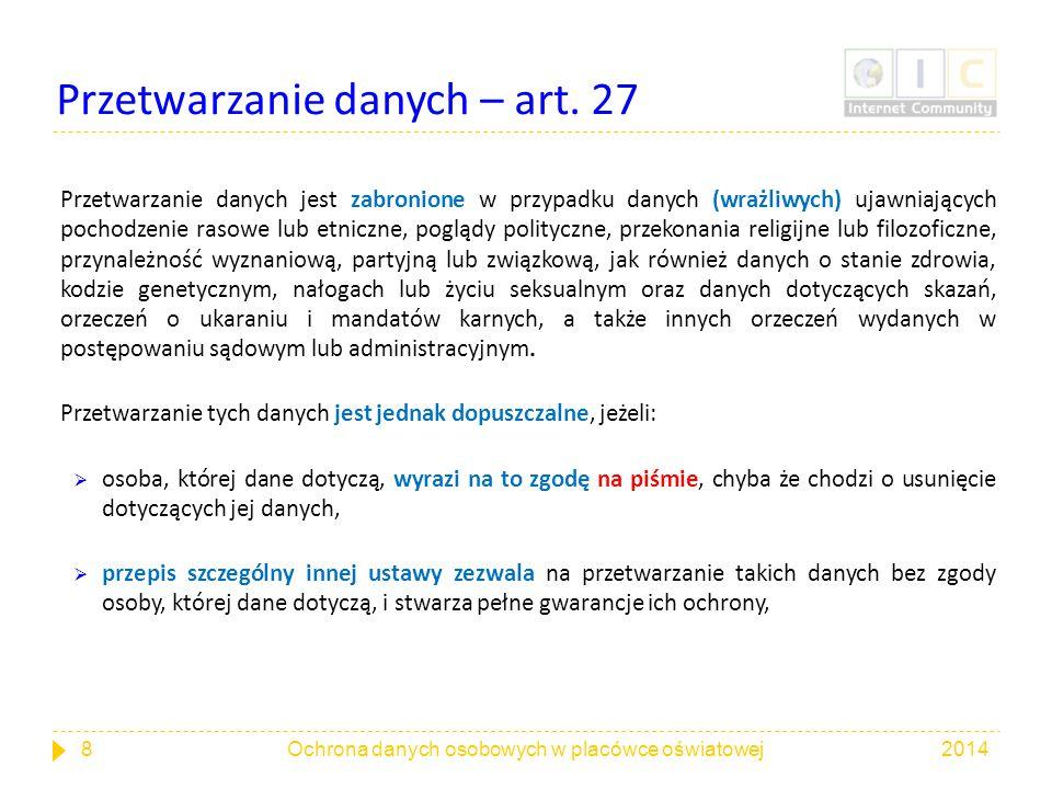 Przetwarzanie danych – art. 27