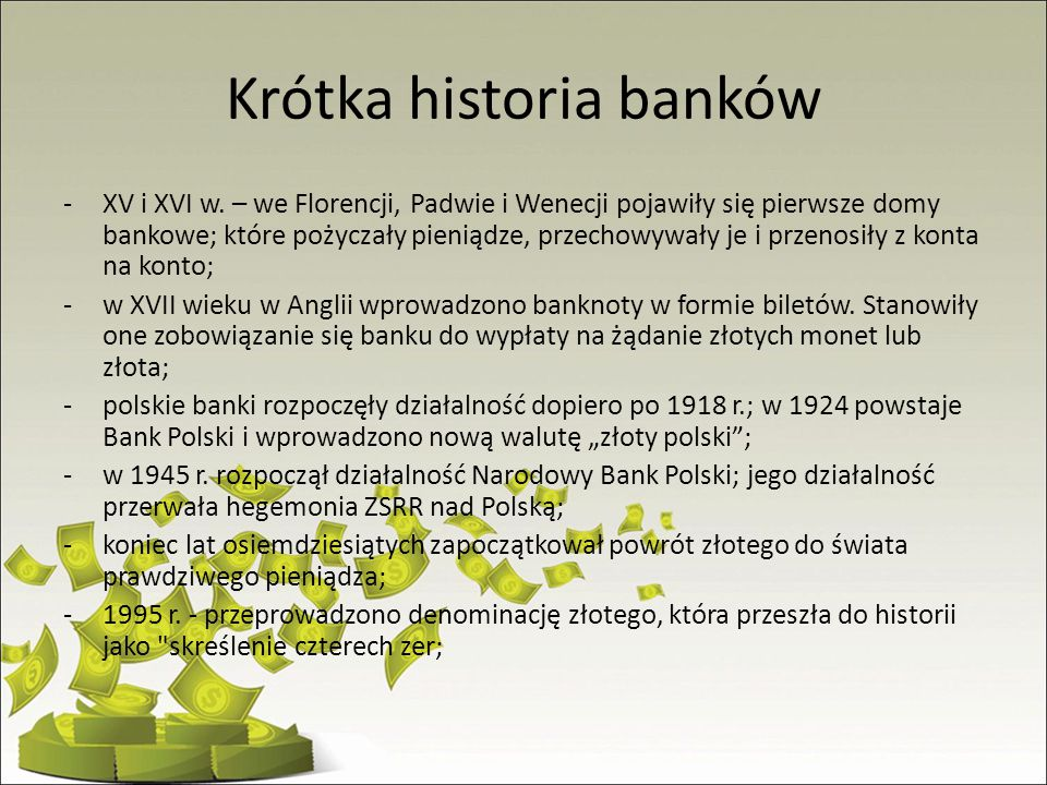 Krótka historia banków