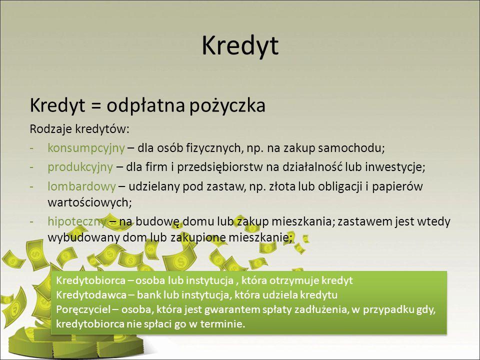 Kredyt Kredyt = odpłatna pożyczka Rodzaje kredytów: