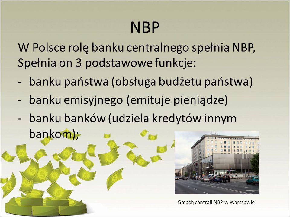 NBP W Polsce rolę banku centralnego spełnia NBP, Spełnia on 3 podstawowe funkcje: banku państwa (obsługa budżetu państwa)