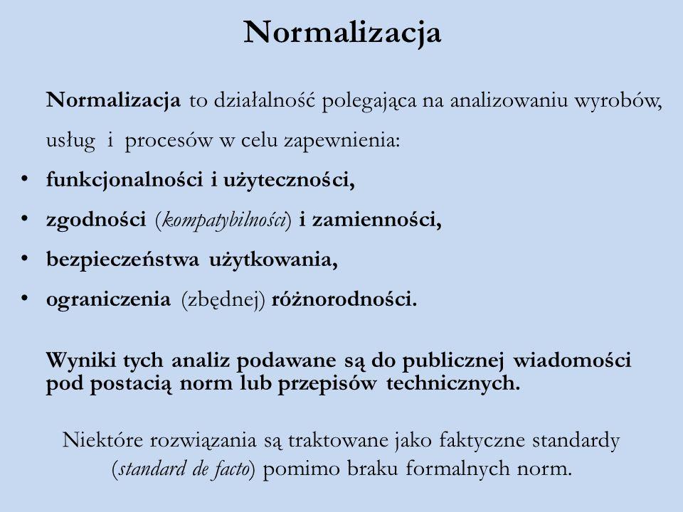 Normalizacja Normalizacja to działalność polegająca na analizowaniu wyrobów, usług i procesów w celu zapewnienia: