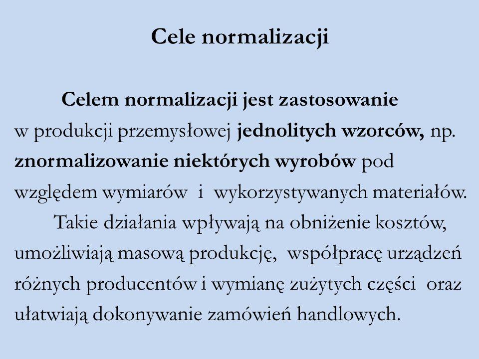 Cele normalizacji Celem normalizacji jest zastosowanie