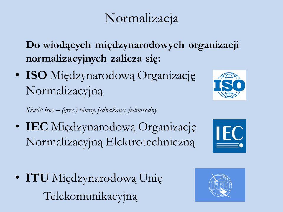 Normalizacja Do wiodących międzynarodowych organizacji normalizacyjnych zalicza się: ISO Międzynarodową Organizację Normalizacyjną.