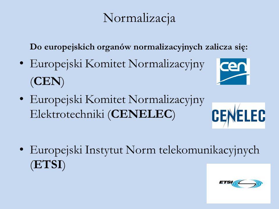Normalizacja Do europejskich organów normalizacyjnych zalicza się: