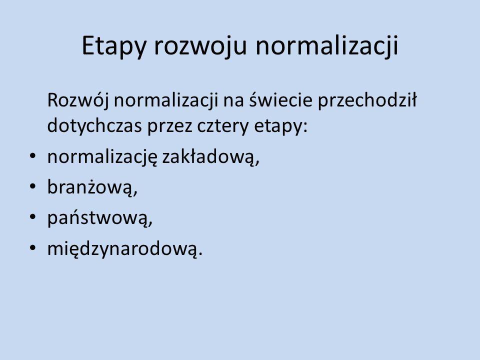 Etapy rozwoju normalizacji