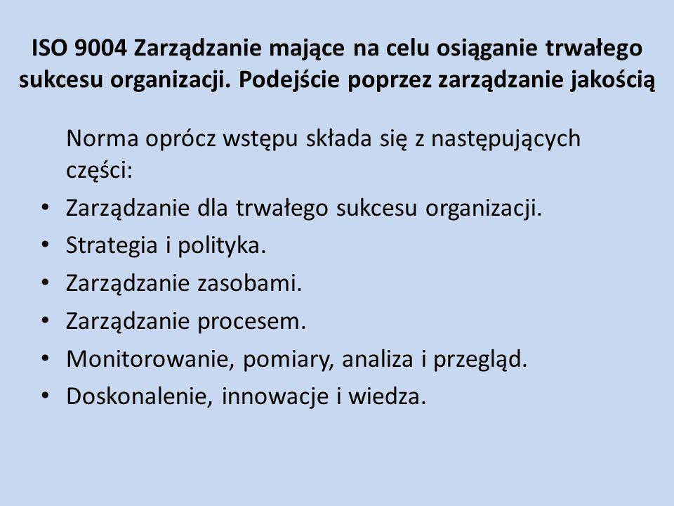 ISO 9004 Zarządzanie mające na celu osiąganie trwałego sukcesu organizacji. Podejście poprzez zarządzanie jakością