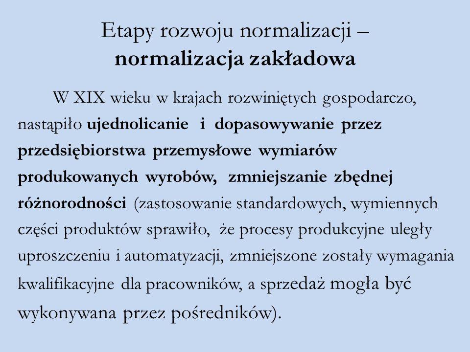 Etapy rozwoju normalizacji – normalizacja zakładowa