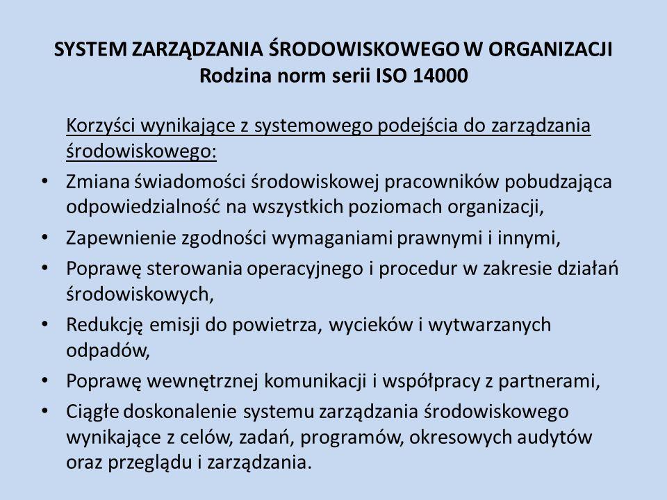 SYSTEM ZARZĄDZANIA ŚRODOWISKOWEGO W ORGANIZACJI Rodzina norm serii ISO 14000