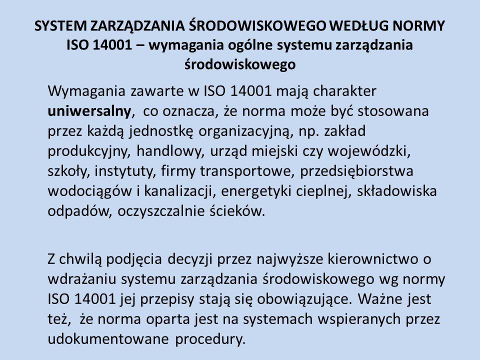SYSTEM ZARZĄDZANIA ŚRODOWISKOWEGO WEDŁUG NORMY ISO 14001 – wymagania ogólne systemu zarządzania środowiskowego