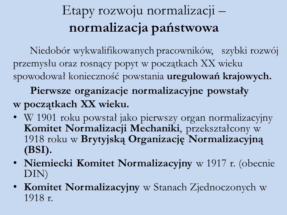 Etapy rozwoju normalizacji – normalizacja państwowa