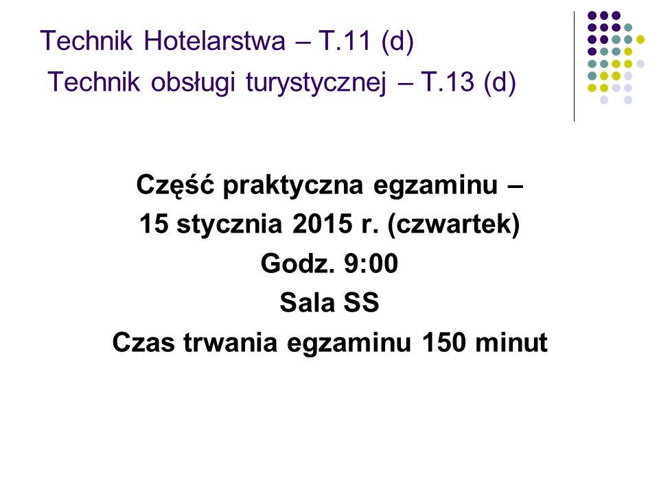 Technik Hotelarstwa – T.11 (d) Technik obsługi turystycznej – T.13 (d)