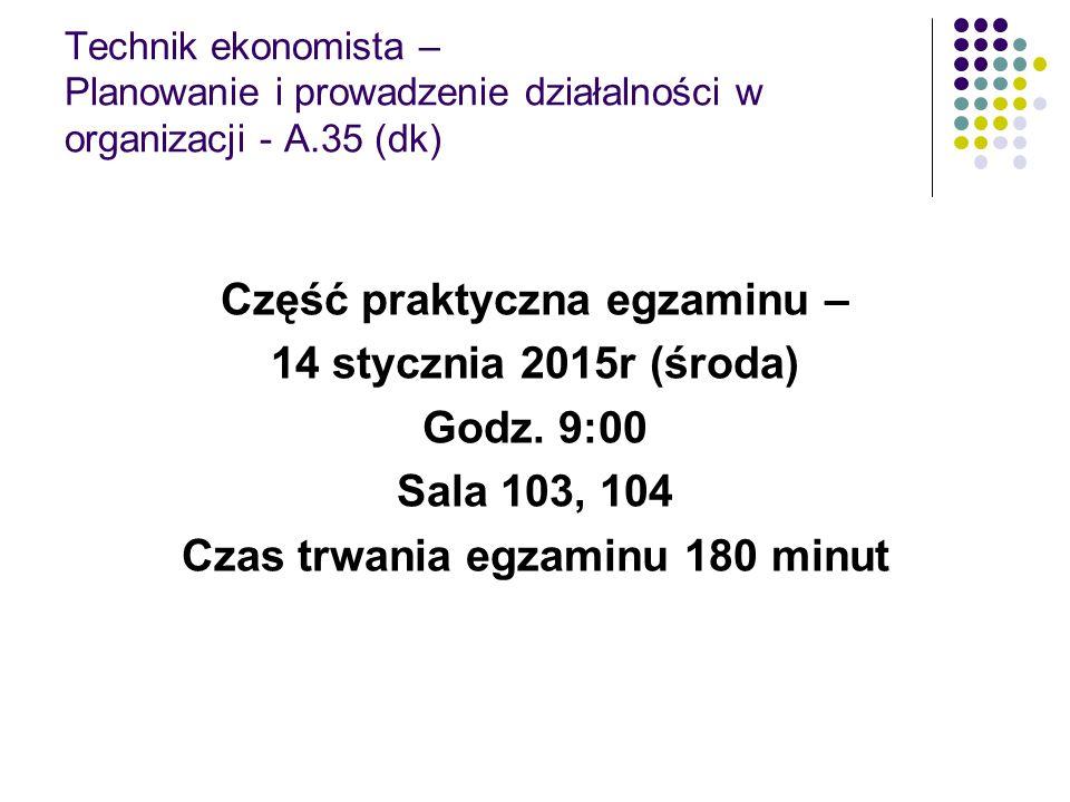 Część praktyczna egzaminu – Czas trwania egzaminu 180 minut