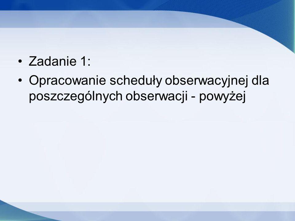 Zadanie 1: Opracowanie scheduły obserwacyjnej dla poszczególnych obserwacji - powyżej