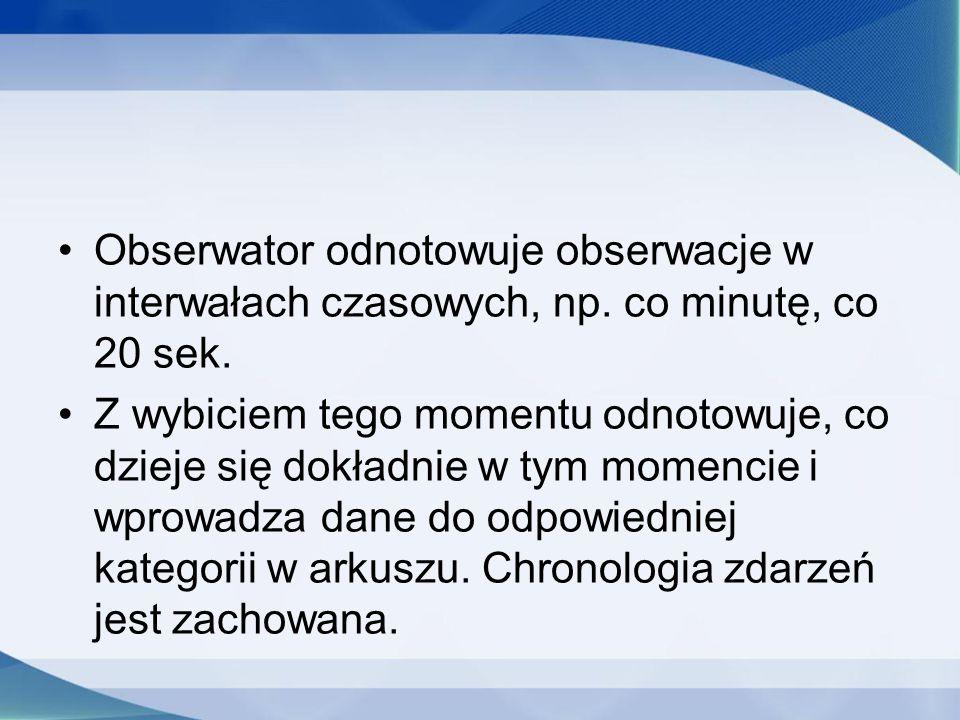 Obserwator odnotowuje obserwacje w interwałach czasowych, np