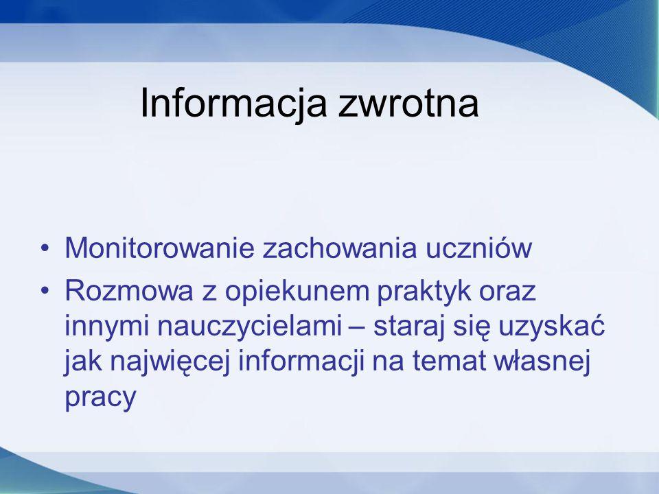 Informacja zwrotna Monitorowanie zachowania uczniów