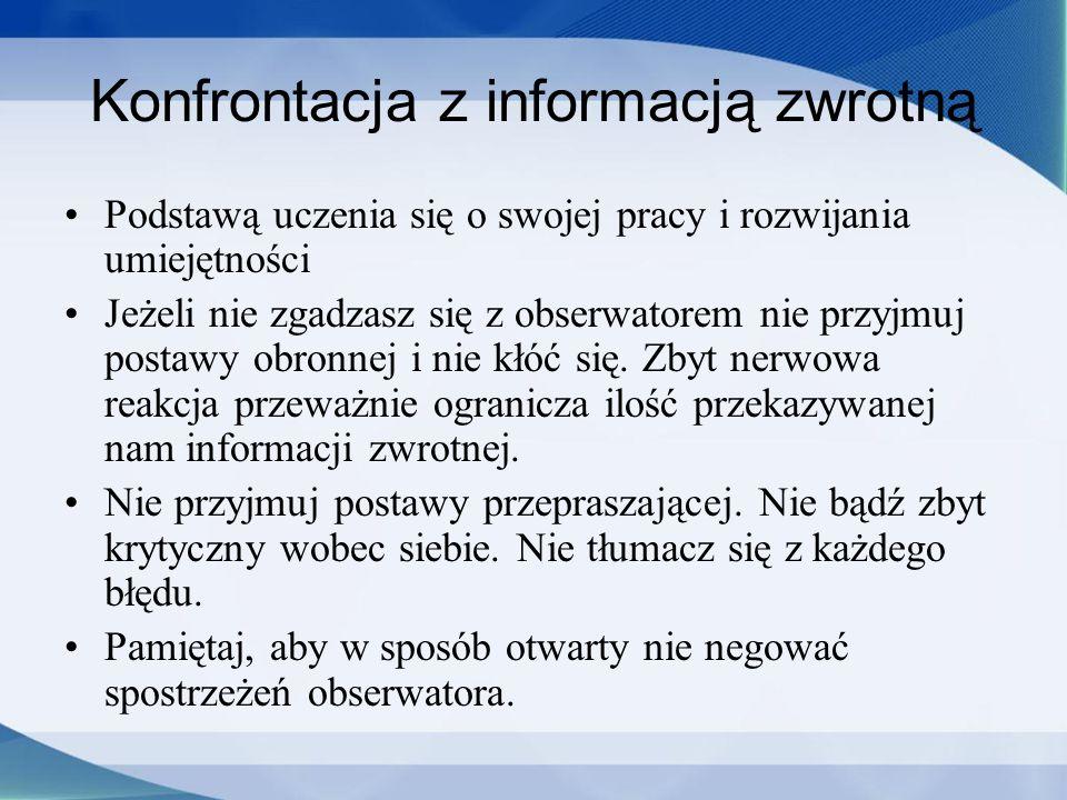 Konfrontacja z informacją zwrotną