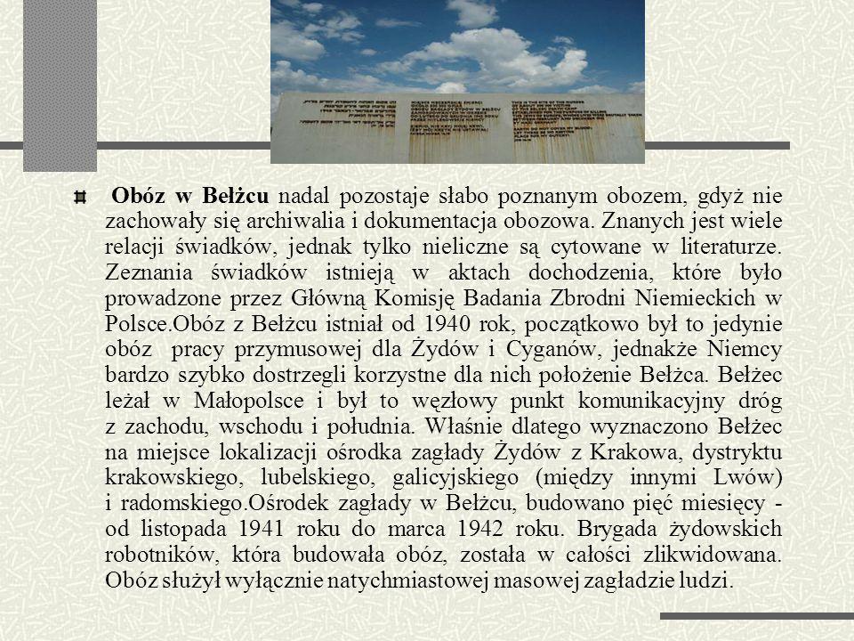 Obóz w Bełżcu nadal pozostaje słabo poznanym obozem, gdyż nie zachowały się archiwalia i dokumentacja obozowa.