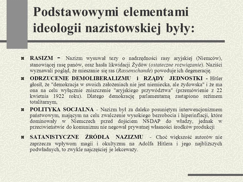Podstawowymi elementami ideologii nazistowskiej były: