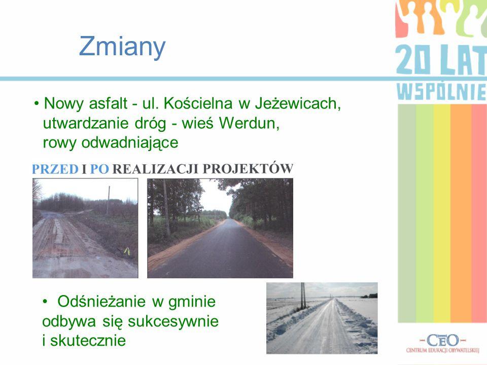 Zmiany Nowy asfalt - ul. Kościelna w Jeżewicach, utwardzanie dróg - wieś Werdun, rowy odwadniające.