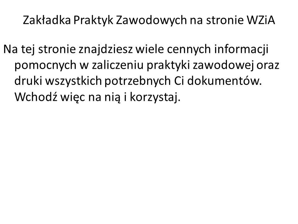 Zakładka Praktyk Zawodowych na stronie WZiA