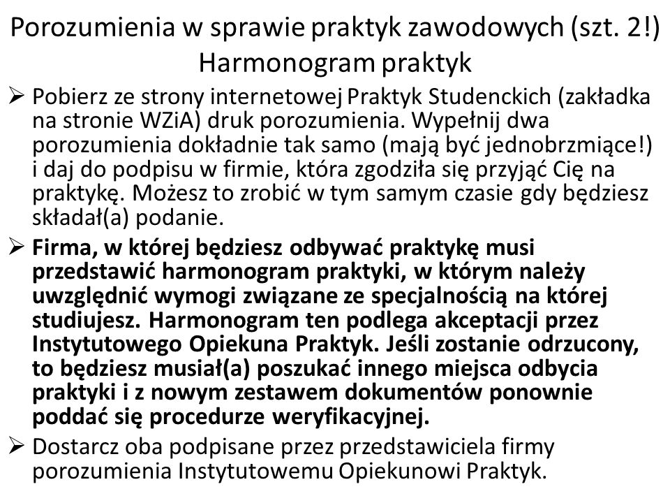 Porozumienia w sprawie praktyk zawodowych (szt. 2