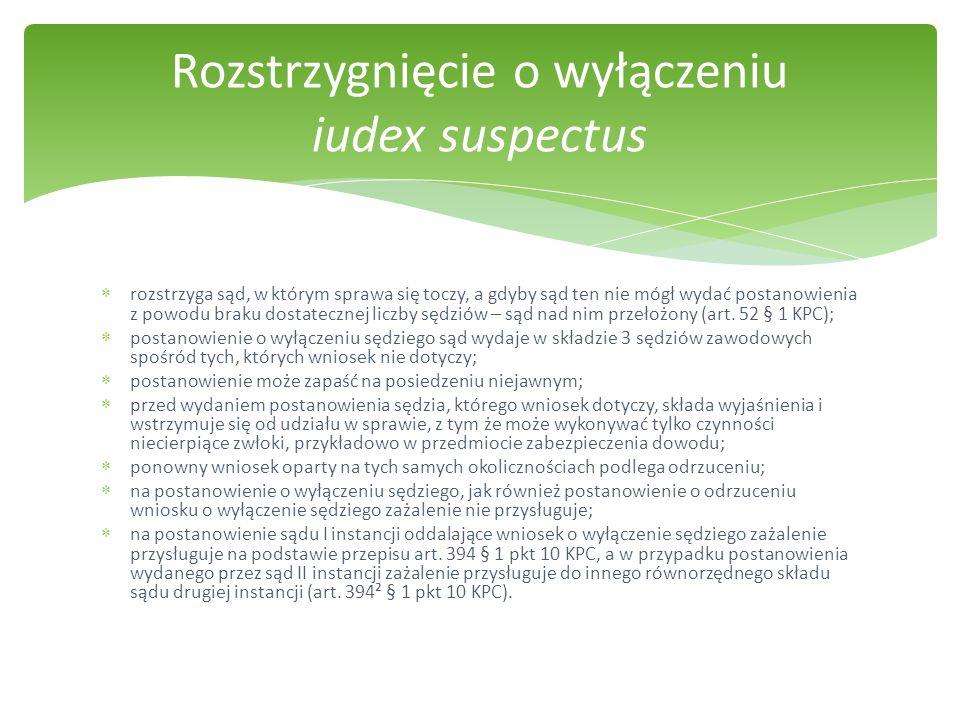 Rozstrzygnięcie o wyłączeniu iudex suspectus