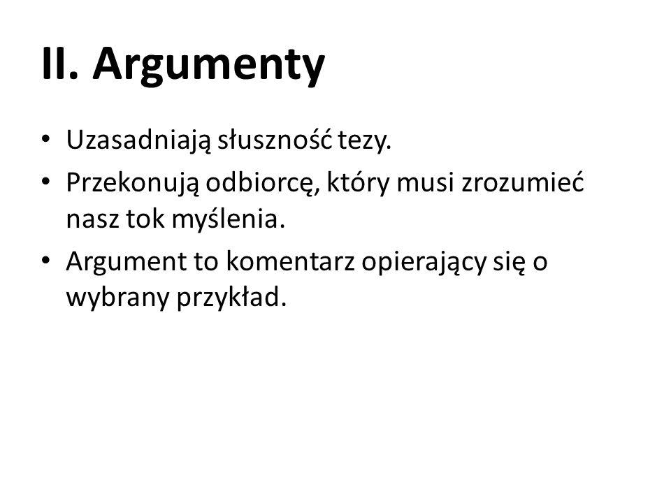 II. Argumenty Uzasadniają słuszność tezy.