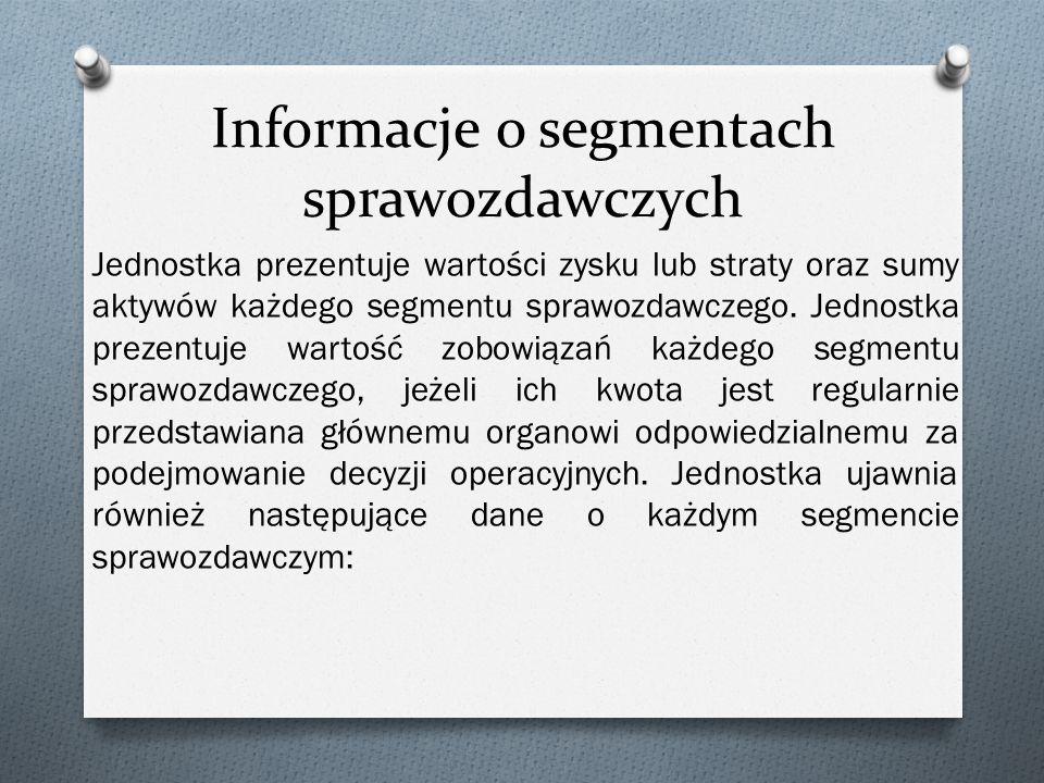 Informacje o segmentach sprawozdawczych